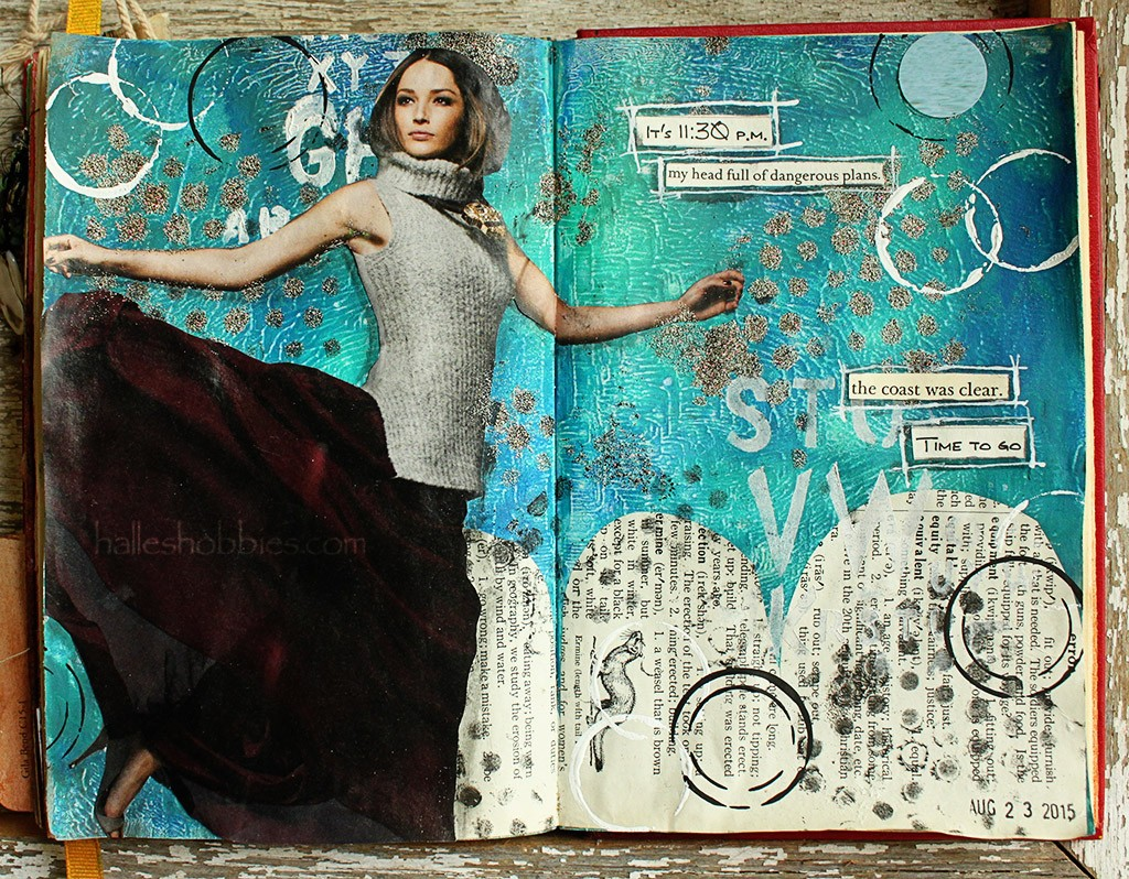 Time to go Art Journal Journey entry| Halle's Hobbies