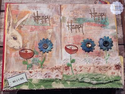 Happy bunny art journal page | Halle's Hobbies