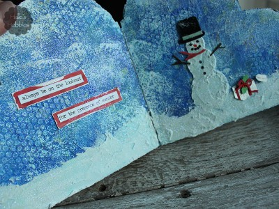 Winter Wonderland art journal page | Halle's Hobbies