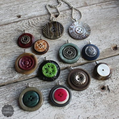 vintage button stack pendants | Halle's Hobbies