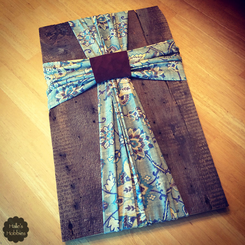 Holy scrap barnwood and fabric cross